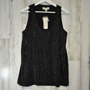 Olive + Oak black beaded tank top NWT silver beads